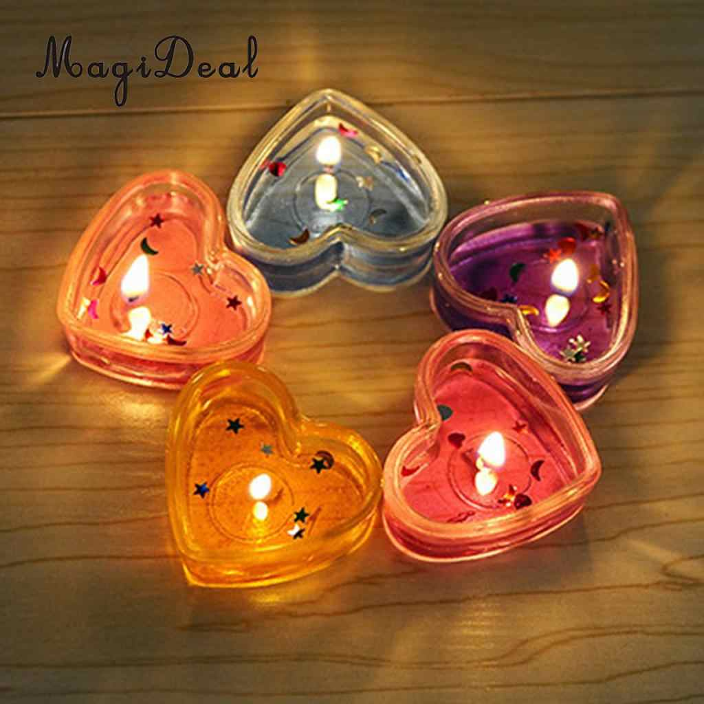 MagiDeal 10x Clear Plastic Tealight Cups Love Heart Candle Mold Wax Containers Making Mould Handmade Craft Mold