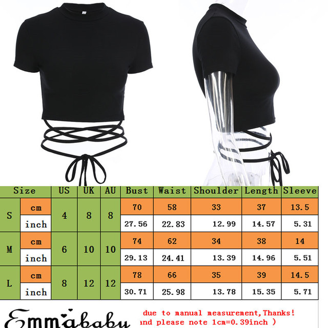 2019 Fashion Women Summer Black Crop Tops T-Shirt Short Sleeve Bandage Tee Tops Sexy Shirts