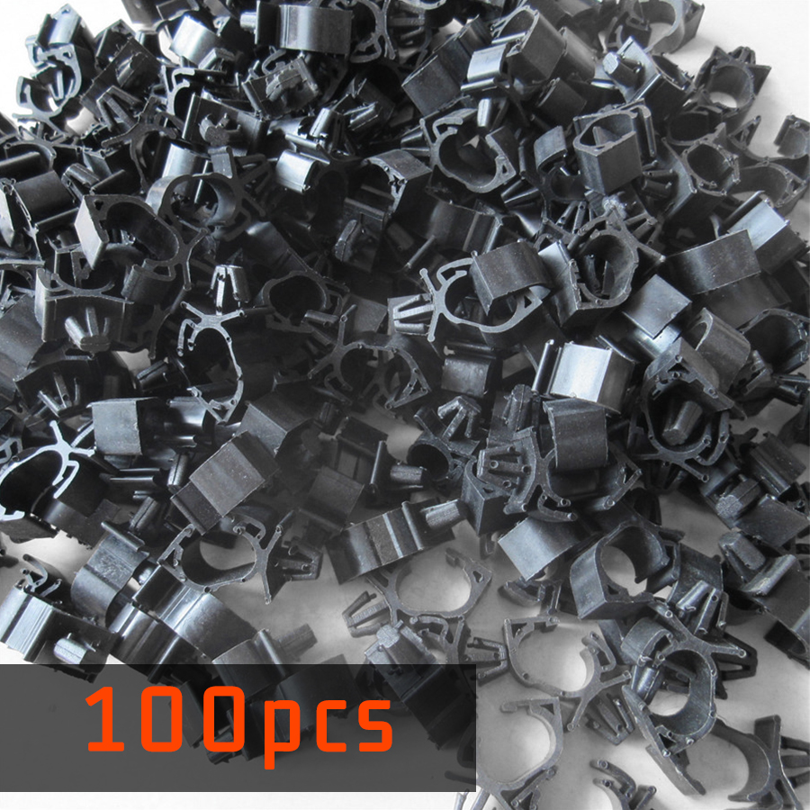 hight resolution of 100pc plastic corrugated pipe tie wrap cable clamp car wiring harness fastener auto oil pipe beam