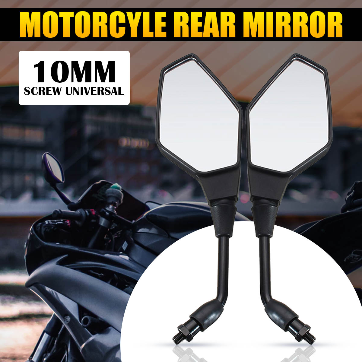 Mofaner 10MM Motorcycle Handlebar Rear View Side Mirror Rearview Mirrors Universal For Honda/Kawasaki/Yamaha/Suzuki/KTM Black цена
