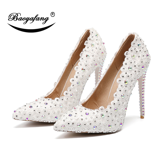 BaoYaFang 11cm High Heeled Fashion shoes Pointed Toe White Flower Wedding  shoes Crystal Thin Heel High c96e799ccc49
