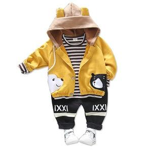 Image 1 - Children Girls Boys Cotton Clothing Spring Autumn Kid Cartoon Hooded Jacket Stripe T Shirt Pants 3Pcs/Set Fashion Baby Tracksuit
