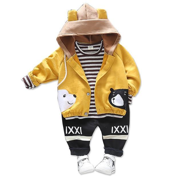 Children Girls Boys Cotton Clothing Spring Autumn Kid Cartoon Hooded Jacket Stripe T Shirt Pants 3Pcs/Set Fashion Baby Tracksuit