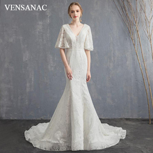 VENSANAC Deep V Neck Lace Embroidery Mermaid Wedding Dresses Half Sleeve Bow Sweep Train Backless Bridal Gowns