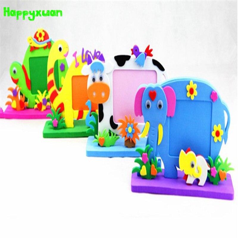 Happyxuan 4pcs/lot Cartoon Animal Photo Frames Handmade DIY Cute Eva Foam Craft Kits Stickers Puzzle Children Series HQ1092