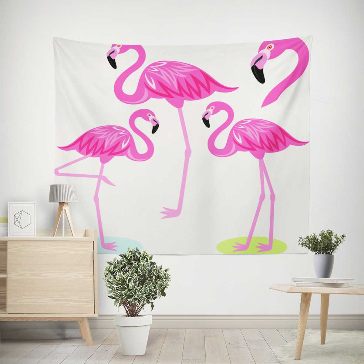 Red Animal Flamingo Printed Tapestry Blanket Kids Room Wall Hanging Decor Travel Picnic Mat Sofa Chair Cover Beach Yoga Mat