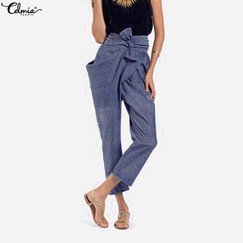 Celmia crayon pantalon 2019 automne femmes taille haute pantalon décontracté lâche irrégulière pantalon solide arc ceinture grandes poches Harajuku pantalon