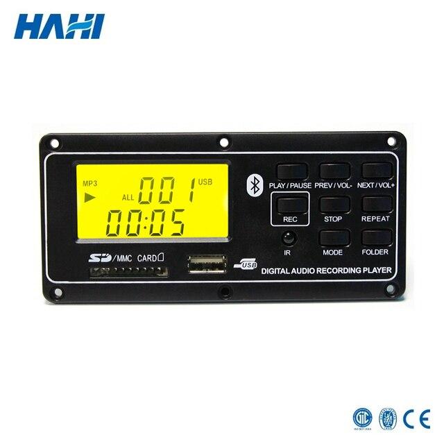 12V LCD Bluetooth MP3 Decoder Board WAV WMA Decoding Player Audio Module  Support FM Radio AUX USB with folder