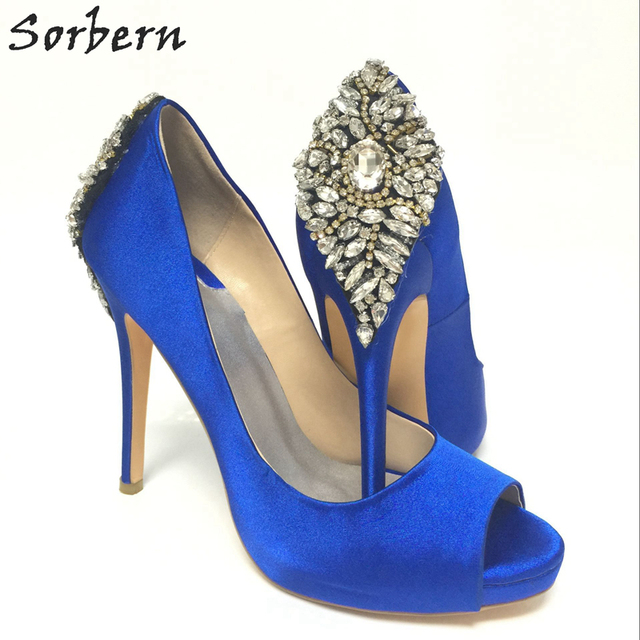 Royal Blue Satin Open Toe Rhinestone Back Wedding Shoes Pumps Stilettos sapato para noiva Shoe Slip-on Sandal For Women Real