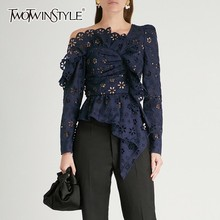 TWOTWINSTYLE Lace Shirts Blouse Long Sleeve Off Shoulder Hollow Out Asymmetrical Tops