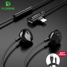 FLOVEME In-Ear Bass Earphone For Lightning Listening Charge  2 in 1 Earphones Magnet Earbuds iPhone Phone Stereo Auriculares