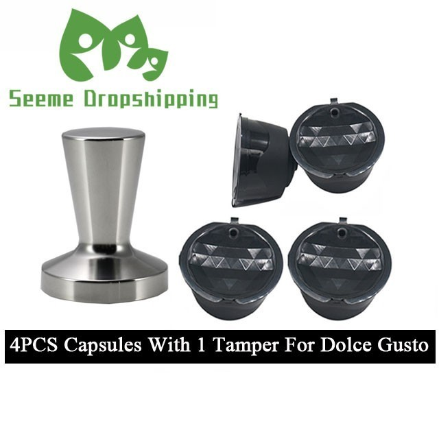 4 Pods 1 Tamper Refillable Dolce Gusto Coffee Capsule Nescafe Dolce Gusto Reusable Rechargeable Capsule With Tamper Use 150times in Coffee Filters from Home Garden