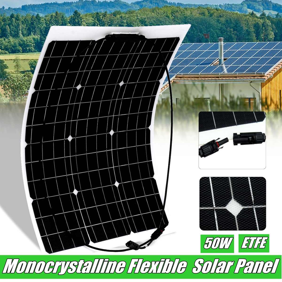 18V 50W Flexible Solar Panel Solar Charger For 12V Car Battery ETFE Monocrystalline Cells For Hause,boat,roof with MC4 Cable18V 50W Flexible Solar Panel Solar Charger For 12V Car Battery ETFE Monocrystalline Cells For Hause,boat,roof with MC4 Cable