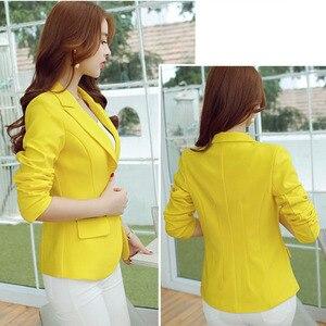 Image 4 - Fashion Women Blazers Green Yellow Long Sleeve Jackets Solid Single Button Coat Slim Office Lady Jacket Tops Blazer Feminino