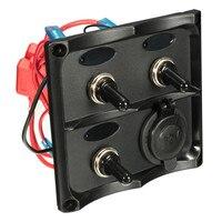 12/24V UV resistant ABS Plastic Splash Proof Boat Marine 3 Gang Blue LED Toggle Switch Panel & Power Socket