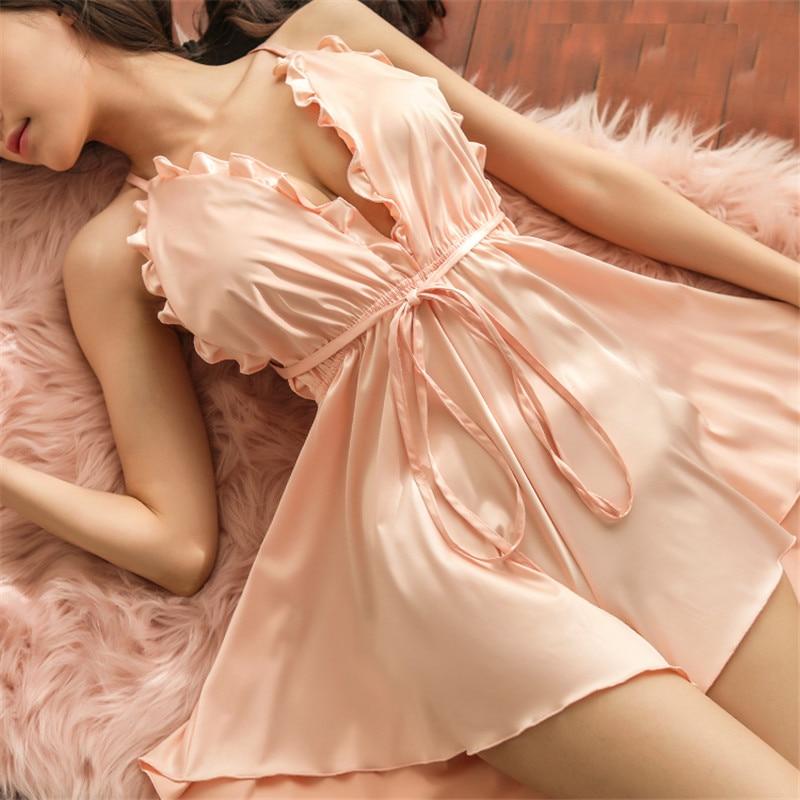 Caiyier Sexy Silk Sleepwear Backless Cross Strap Satin Ruffles Nightgown Sexy Lingerie Nightwear New 2019 Night Dress For Women in Nightgowns Sleepshirts from Underwear Sleepwears