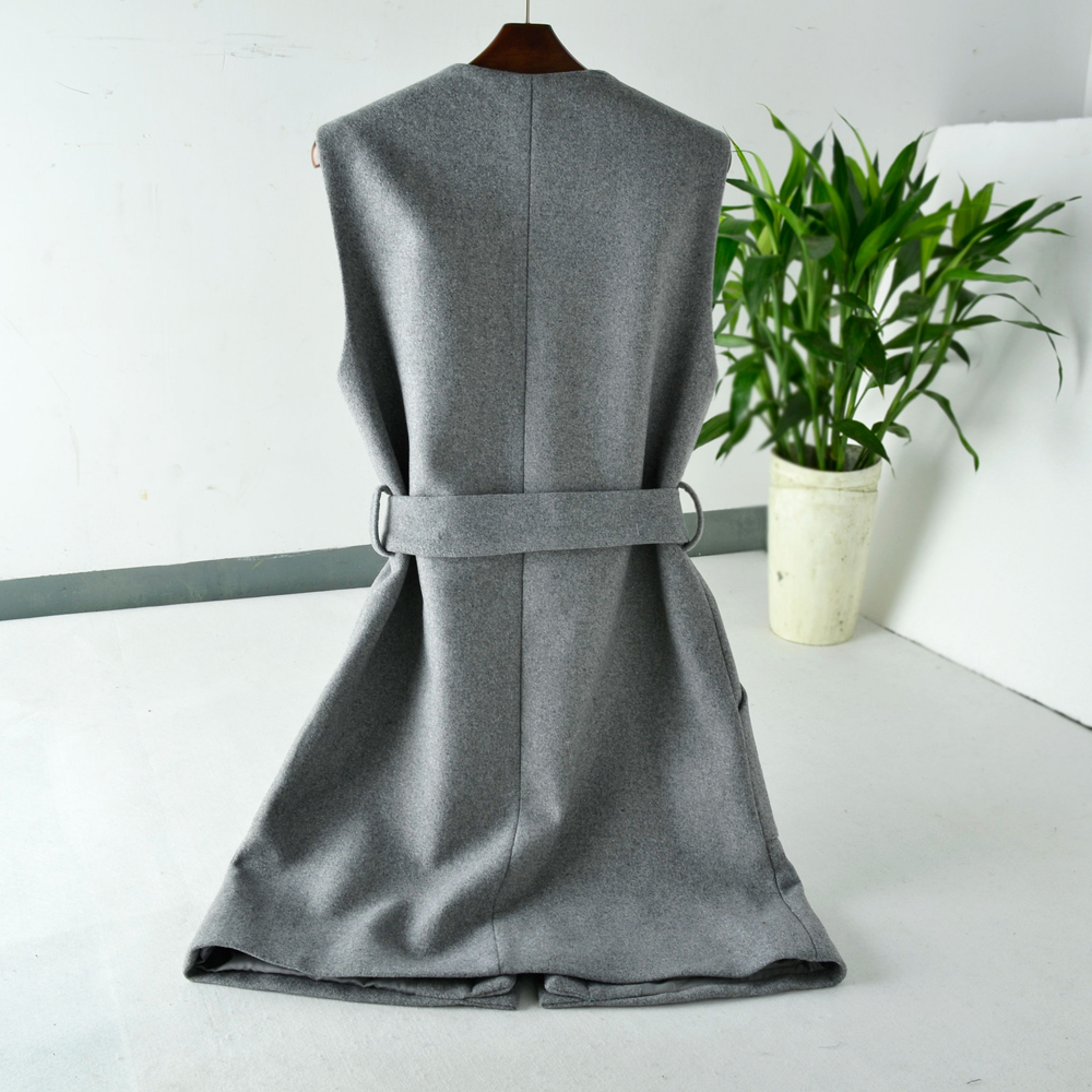 Womens Casual Cashmere Wool Long Vest Waistcoat Sleeveless Coat Jacket