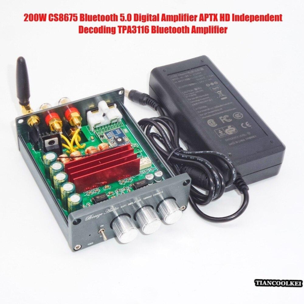 HD50 CS8675 Bluetooth 5.0 APTX HD amplificateur audio stéréo PCM5102 décodage Audio 200 w TPA3116 amplificateur Bluetooth numérique