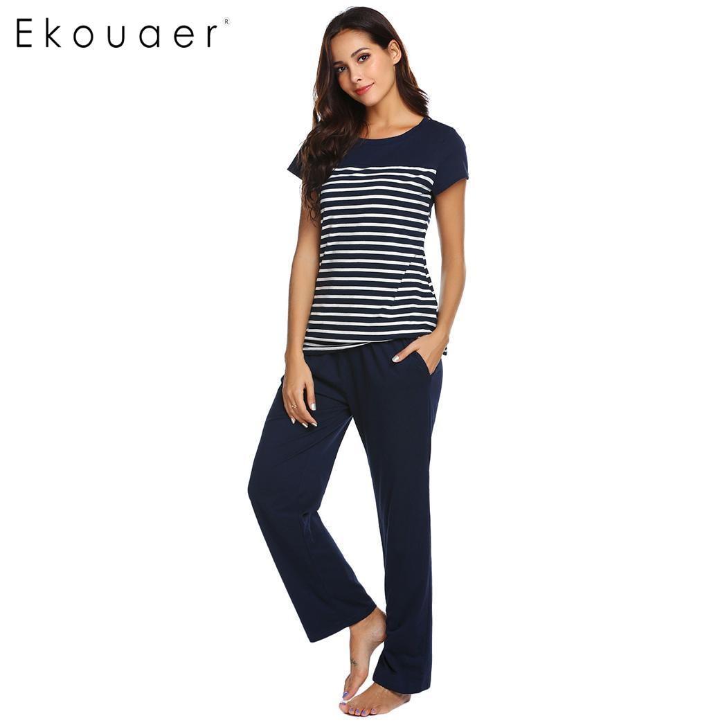 Ekouaer Women Nightwear Striped   Pajamas     Sets   Casual O-Neck Short Sleeve Loose   Pajamas     Set   Female Home Sleepwear Clothing