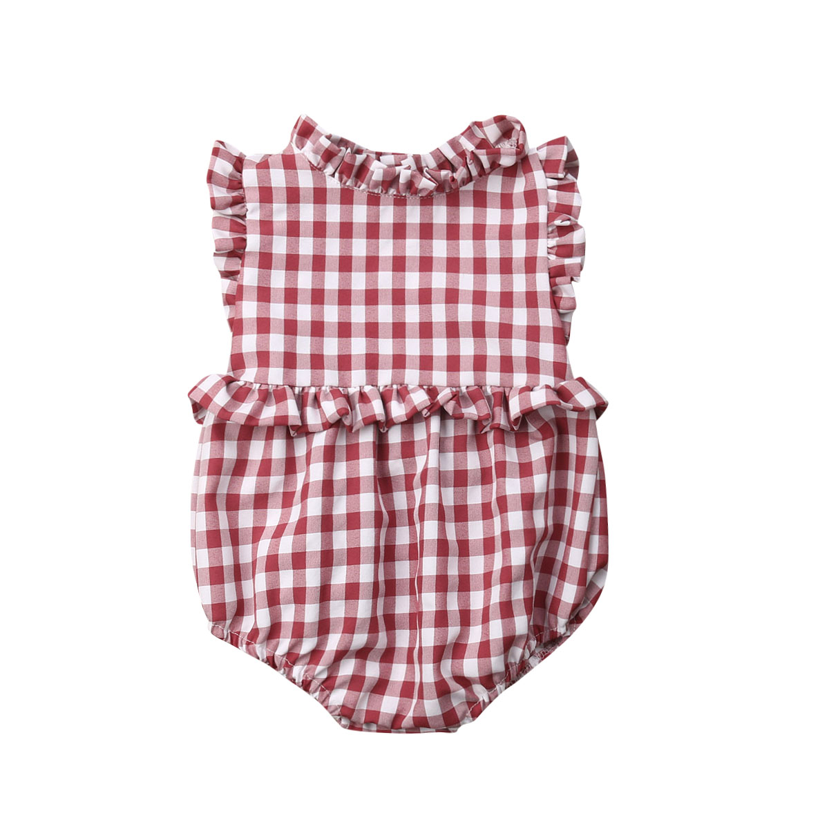 2019 Baby Girl summer clothing red Ruffle Plaid   Romper   Sunsuit Jumpsuit Outfits for newborn infant clothes children kid toddler