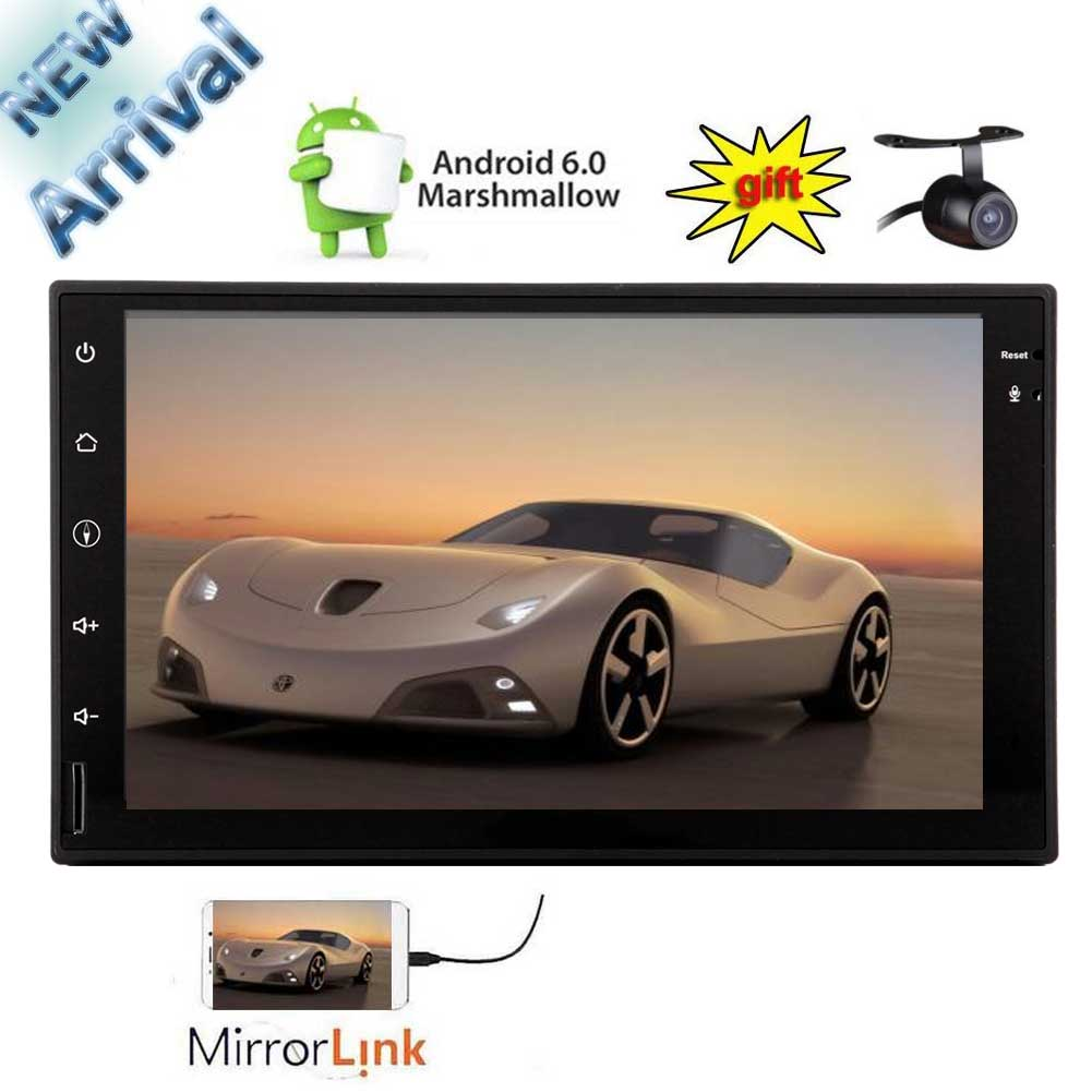 US $133 94 5% OFF|Eincar 2 Din Android 6 0 Quad Core 7 inch Capacitive  Touch Screen Car Stereo Bluetooth Radio GPS Mirrorlink+Free Backup  Camera-in