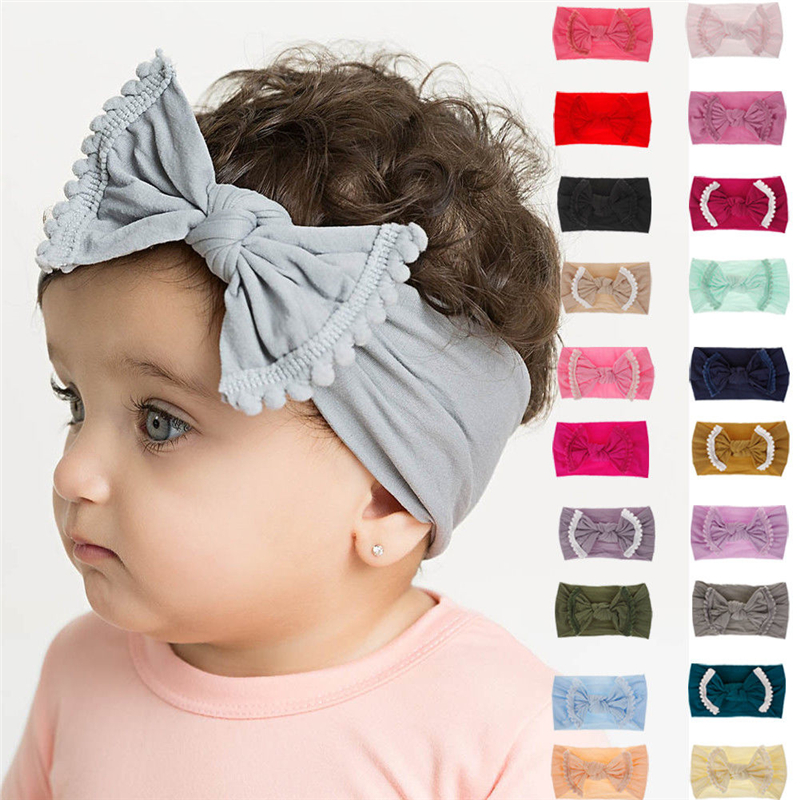 Cute Baby Girl Kid Big Bow Hairband Headband Solid Cotton Stretch Turban Knot Head Wrap Headwear Girls Tassels Headband 0-6Years