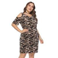 Women Midi Dresses Casual Sexy Club OL Ladies High Street Army Green Bodycon Camouflage Print Summer Female Fashion 2019 Dress