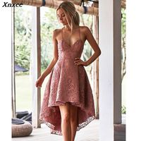 Xnxee summer sexy red lace dress women vestidos womens clothing jurken clothes suspender dress backless sundress patchwork 2019