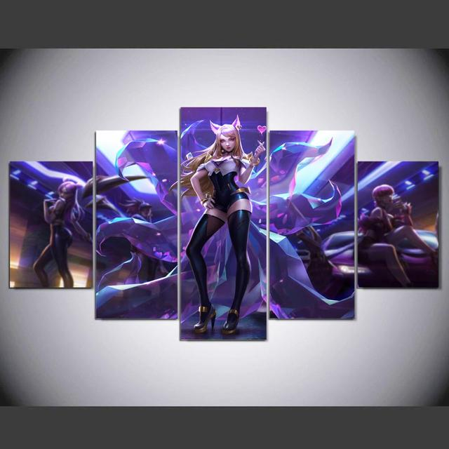 HD canvas printed painting 5 piece League of Legends KDA Ahri Splash Art Home decor Poster Picture For Living Room YK-1224