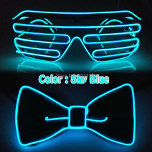 Halloween Party Set EL Glasses and BowTie Light Up Blink LED Glowing Rave Tie Bow Glow Supplies With DC3V