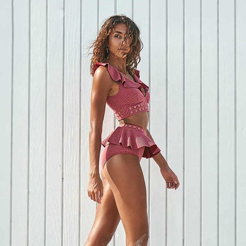 2019 nowy wysokiej talii Bikini stroje kąpielowe kobiety strój kąpielowy Push Up Bikini strój kąpielowy dla kobiet Biquini wzburzyć Bikini lato plaża nosić