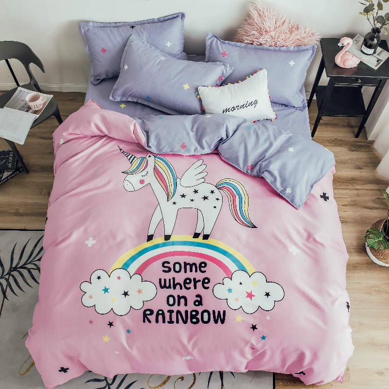 Cotton Cartoon Rainbow Unicorn Bedding Set Kids Twin Queen Size Girls Pink Duvet Bed Cover Pillowcases Gray Bed Sheets Bedspread