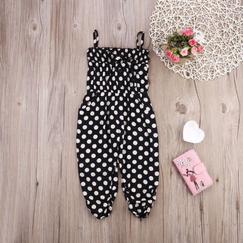 Pudcoco New Brand Kids Baby Girls Summer Sleeveless Dot Jumpsuit  Clothes Outfits