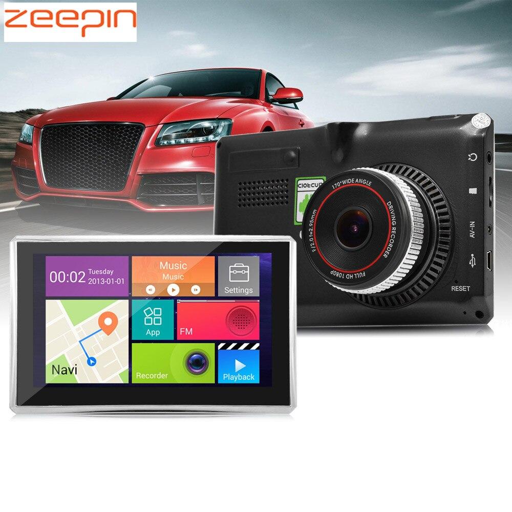 Zeepin Android véhicule GPS Navigation 5 pouces 170 degrés grand Angle 1080 P WiFi voiture DVR lecteur multimédia transmetteur FM