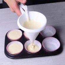 1 ud. Cocina DIY conveniente Chocolate dulce glaseado embudo molde blanco grado alimenticio plástico panqueque crema masa dispensador torta herramienta