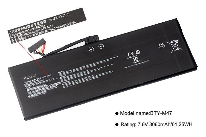 KingSener nuevo BTY-M47 batería para portátil MSI GS40 GS43 GS43VR 6RE GS40 6QE 2ICP5/73/95-2 7,6 V 8060 mAh/61.25WH 2 años de garantía - 2