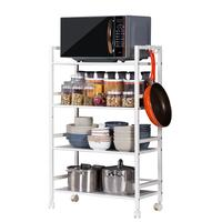 4 Tiers Kitchen Rack Microwave Oven Rack Extended Iron Multi function Storage Rack The Dining Car Cart Organizer Kitchen Rack