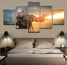 5 Pieces Canvas Print Geralt of Rivia The Witcher 3 Wild Hunt Game Poster Wall Art Modular Pictures Home Decorative Living Room все цены