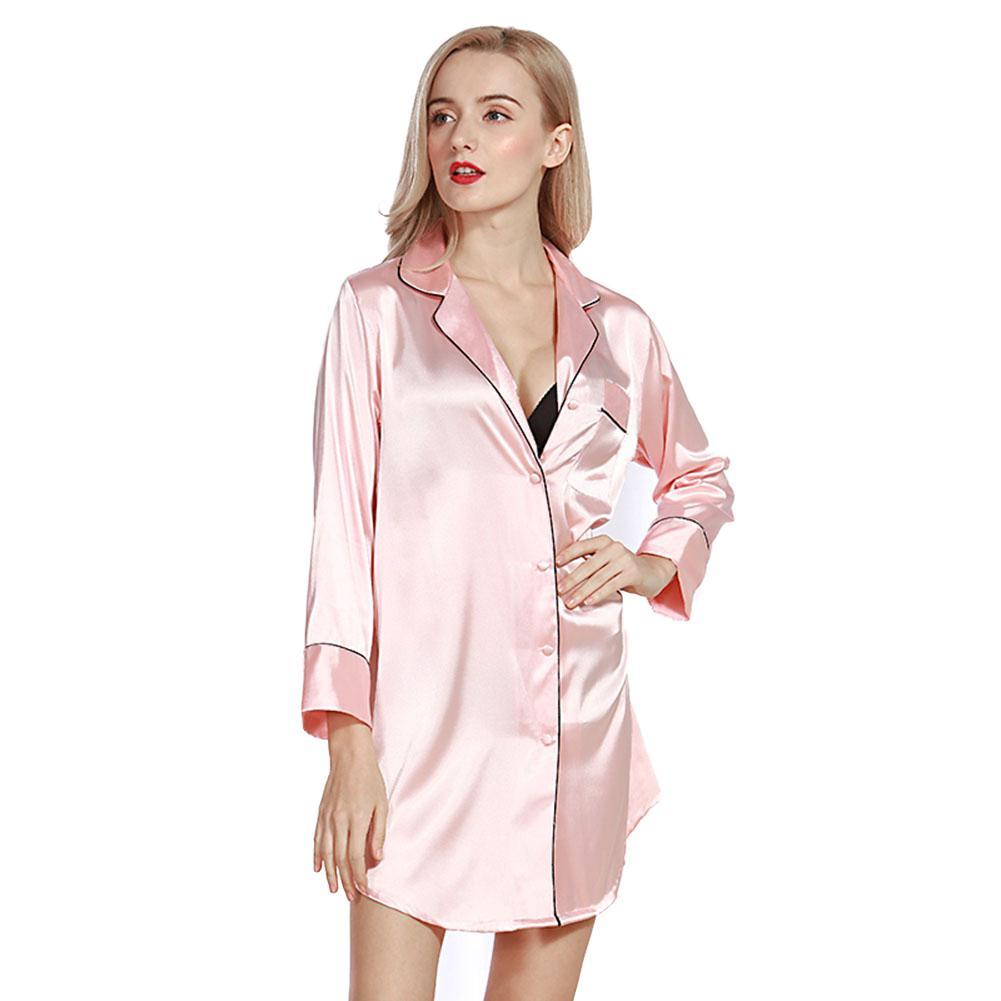 MISSKY Women Nightwear Nightgowns Sexy Long Sleeve Solid Color Satin Sleepwear Pijama Silk Home Wear Nightdress & Sleepshirts