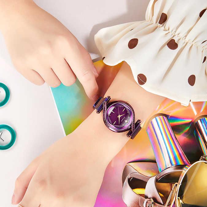 Kimio, женские креативные часы, роскошный бренд, сетчатый ремень, женские кварцевые часы, 2019, звездное небо, магнитный ремешок, наручные часы