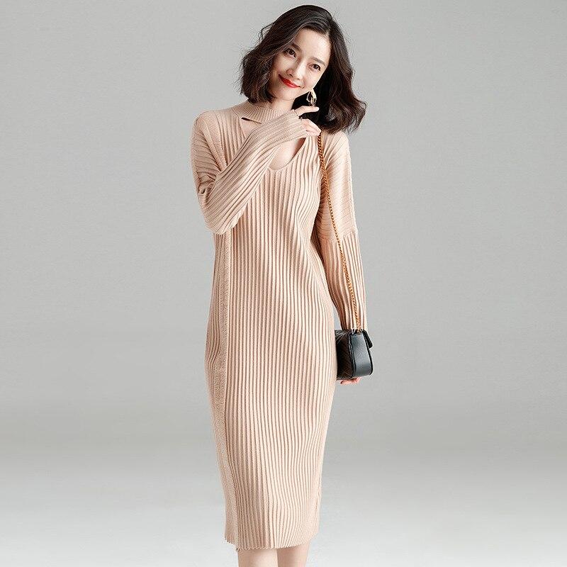 732442da5a3 Осенне-зимнее вязаное платье 2018 женское темпераментное корейское свободное  платье-свитер с длинными рукавами