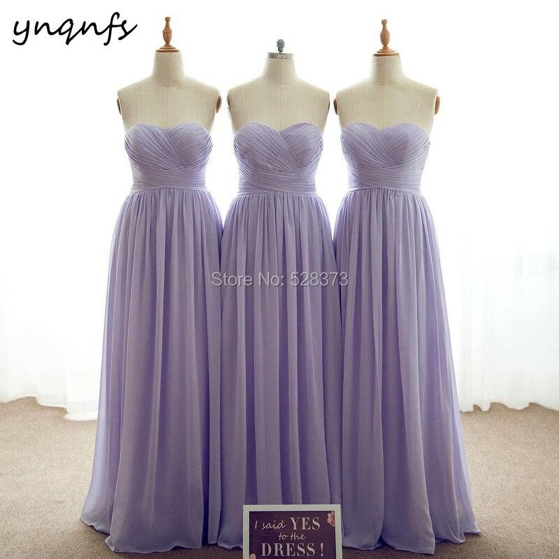 YNQNFS B25 personnalisé fait nouveau Multi couleur en mousseline de soie chérie ruché haut longue robe de soirée lilas robes de demoiselle d'honneur 2019