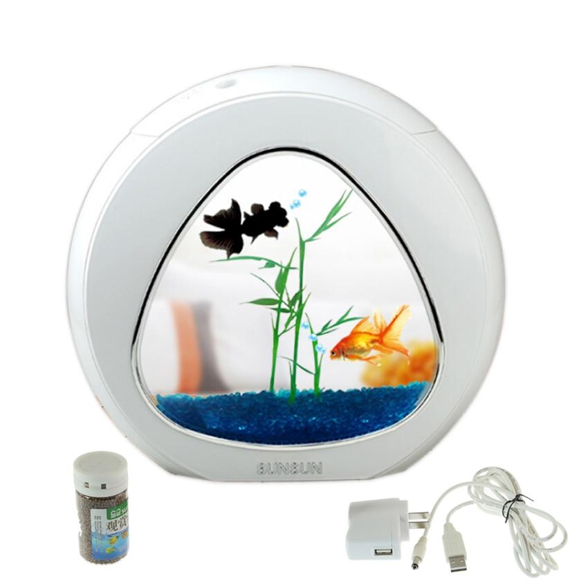 mini akvarijní nádrž na ryby akváriová ryba mísa akvarijní nádrž 110V-220V / USB LED osvětlení přichází aerobní filtrační systém Integrace