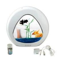 mini aquarium fish tank aquarium fish bowl aquarium tank 110V 220V/USB LED lighting comes aerobic filtration system Integration