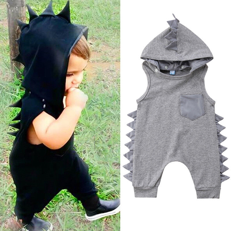 Dinosaur Hooded Detachable Baby Clothes Kid Infant Boy Girl Sleeveless Solid Baby Rompers Jumpsuit Summer Outfit New Born To 3Y(China)
