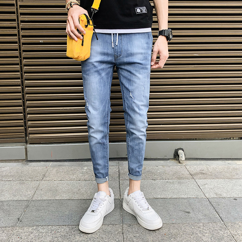 Men's jeans 2019 new jeans solid color elastic straight feet slim jeans young people personality fashion trend men's clothing
