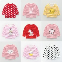 hot deal buy casual infant baby tops 100% cotton long-sleeved baby girl shirts fashion cartoon printed baby clothing