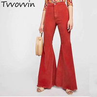 TVVOVVIN New Autumn Winter 2019 Long Corduroy Solid Color Patchwork Pockets High Waist Button Casual Flare Pants R092