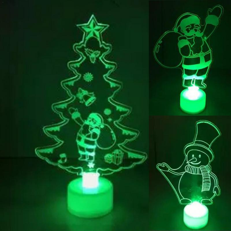 Colorful Christmas Tree Santa Claus Snowman Modeling LED Light Toy For Fiber Optic Acrylic Lamp With Cyclic Color Change