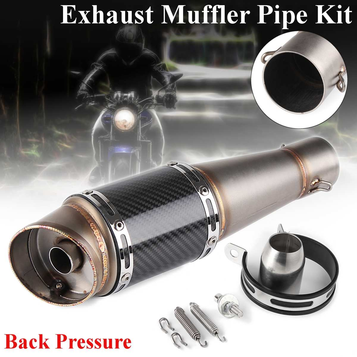 Left/Right Universal Motorcycle Exhaust Innet 38-51mm L:360mm Motorbike Exhaust Muffler Escape for Honda for Yamaha for kawasakiLeft/Right Universal Motorcycle Exhaust Innet 38-51mm L:360mm Motorbike Exhaust Muffler Escape for Honda for Yamaha for kawasaki